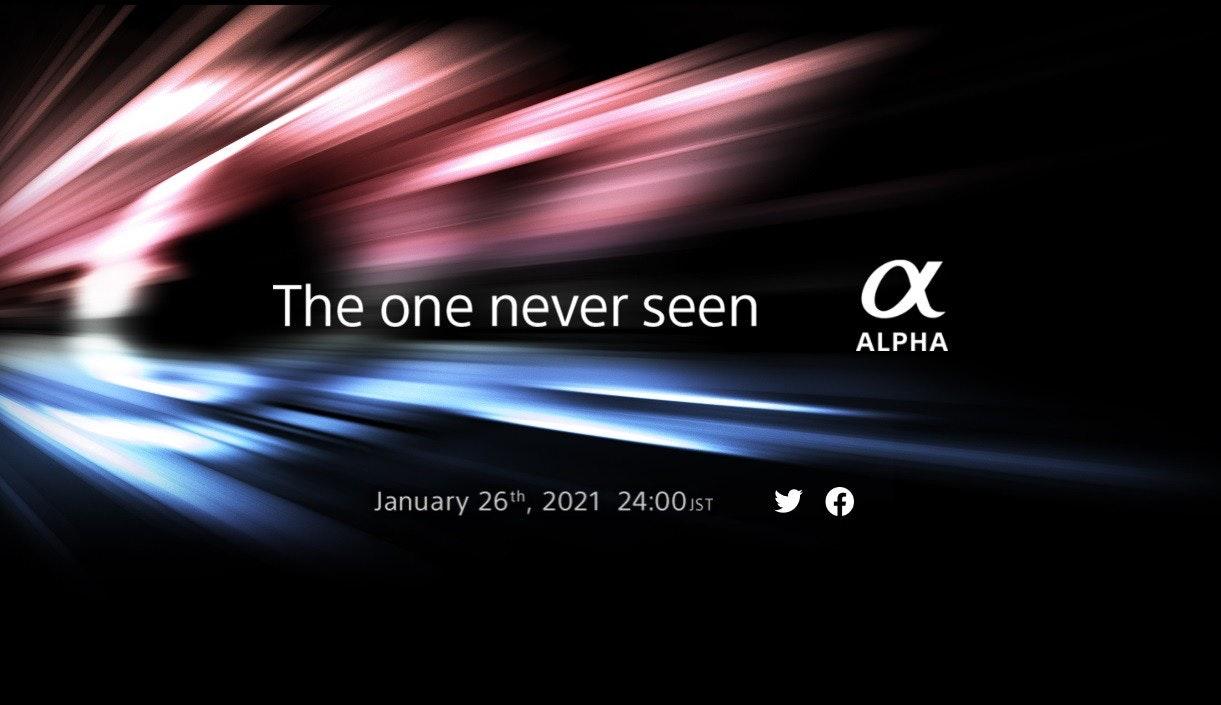 照片中提到了The one never seen、ALPHA、January 26th, 2021 24:00 JsT,跟了索尼有關,包含了索尼阿爾法、平面設計、索尼α、光、牆紙