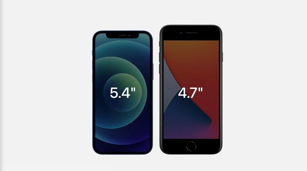 """照片中提到了5.4""""、4.7"""",包含了iPhone 12迷你、iPhone 12迷你、蘋果iPhone 12、iPhone SE、蘋果iPhone 12 Pro Max"""