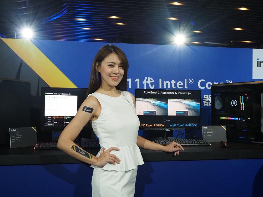 照片中提到了ir、11t Intel® Co--、器,跟加州大學體育協會、希勒國際有關,包含了女孩、車展、公共關係、電子產品、顯示裝置