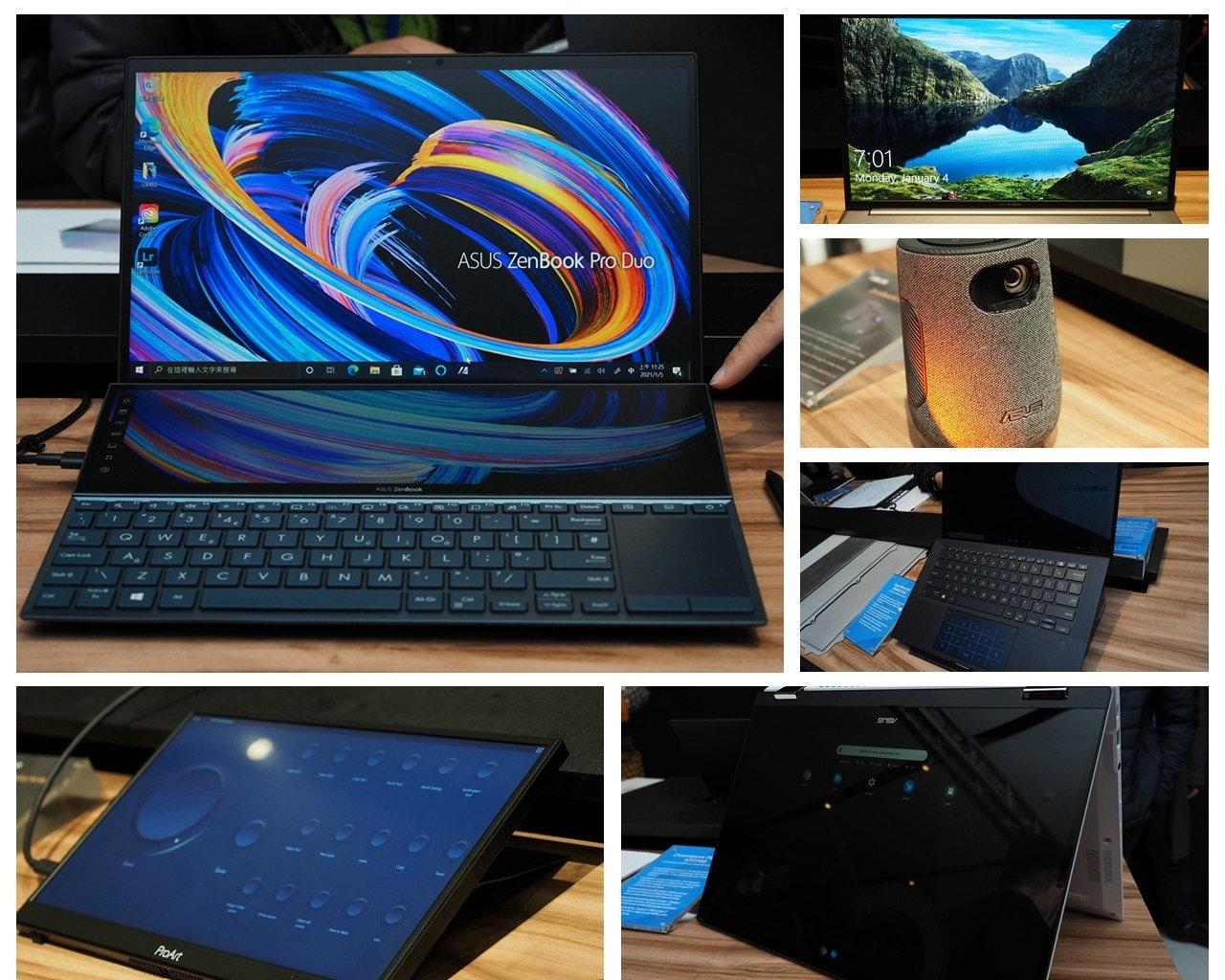 照片中提到了7:01.、Monday January 4、ASUS ZenBook Pro Duo,包含了筆記本電腦、電腦硬件、筆記本電腦、電腦、產品設計