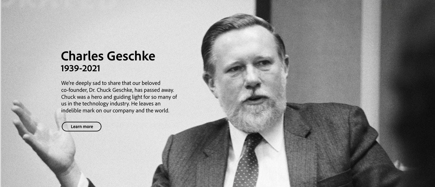 照片中提到了Charles Geschke、1939-2021、We're deeply sad to share that our beloved,包含了紳士、查爾斯·格施克、土坯、PDF格式、軟件
