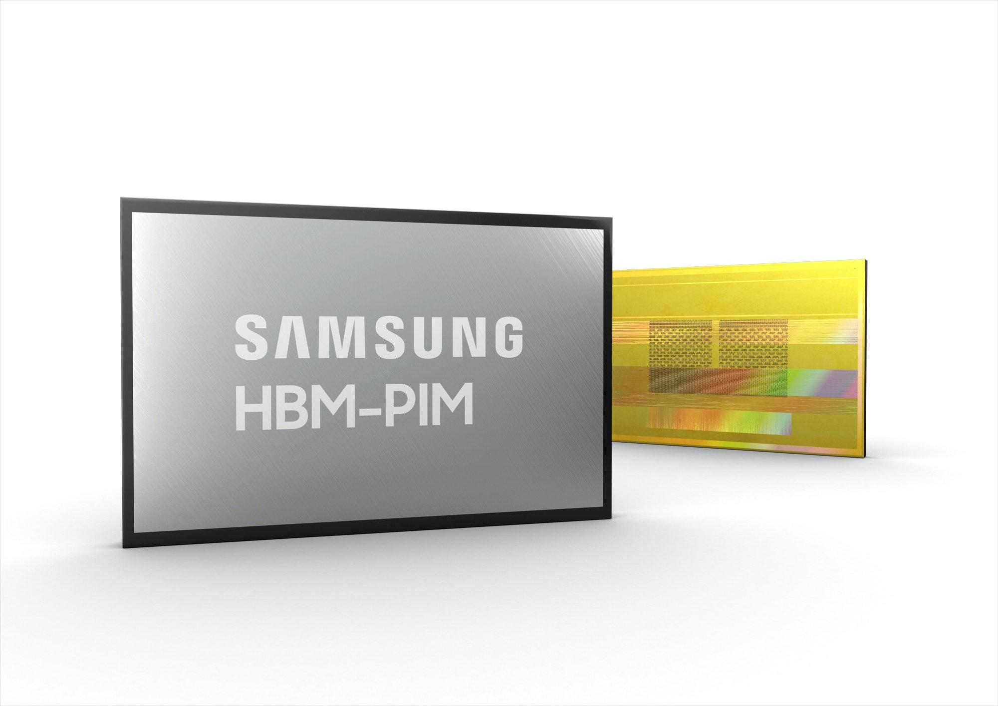 照片中提到了SAMSUNG、HBM-PIM,包含了三星、高帶寬內存、半導體存儲器、三星電子、三星集團