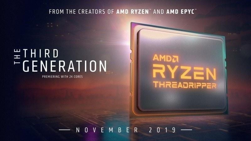"""照片中提到了FROM THE CREATORS OF AMD RYZEN AND AMD EPYC、""""THIRD、FGENERATION,包含了顯示裝置、AMD公司、Advanced Micro Devices公司、AMD 銳龍線程撕裂者 3960X、AMD 銳龍 Threadripper 3960x 無鎖桌面處理器,帶微星 Trx40 PRO 10G 主板"""