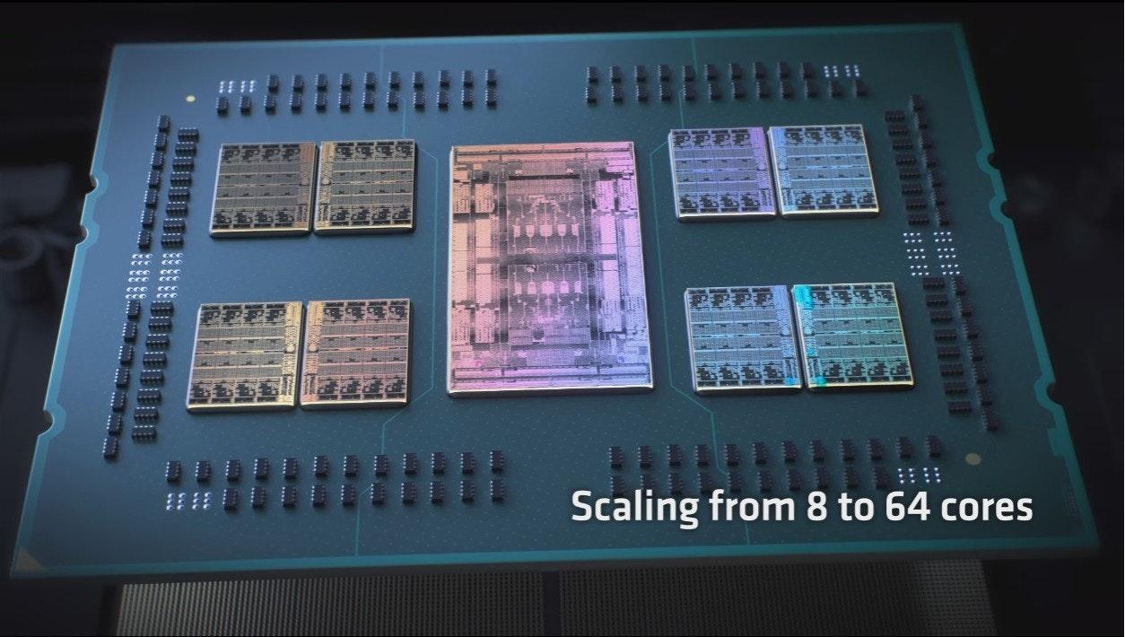 照片中提到了更、Scaling from 8 to 64 cores,包含了電子產品、電子產品、電腦硬件、中央處理器、電子工程