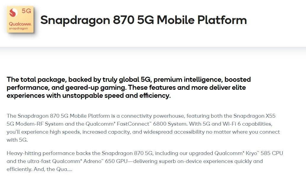 照片中提到了5G、Snapdragon 870 5G Mobile Platform、Qualcowm,跟高通公司有關,包含了文獻、金魚草865、高通金魚草、移動電話