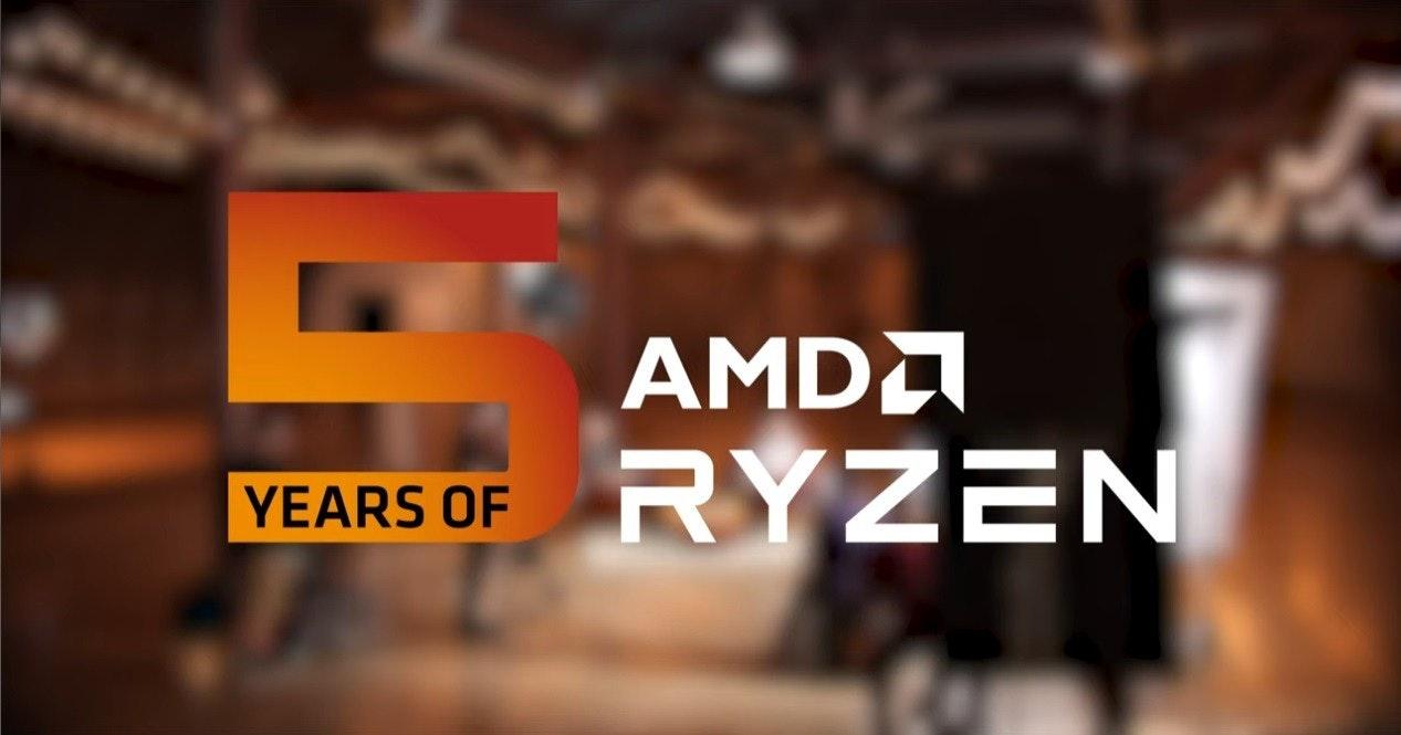 照片中提到了AMDA、RYZEN、YEARS OF,跟Advanced Micro Devices公司有關,包含了喝、插座AM4、雷岑、中央處理器