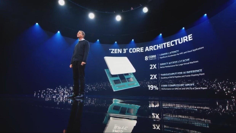 """照片中提到了""""ZEN 3"""" CORE ARCHITECTURE、8 CORE LOWER LATENCY、COMPLEX,跟GNC有關,包含了階段、新浪微博、Advanced Micro Devices公司、禪宗3、中央處理器"""