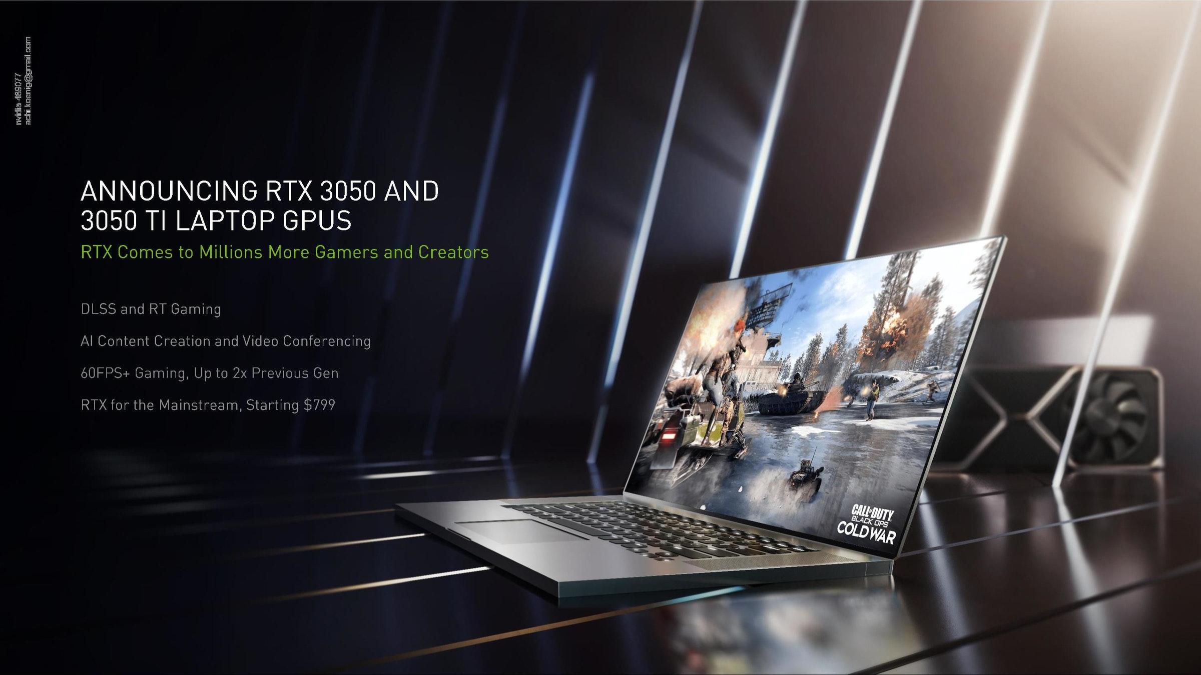 照片中提到了ANNOUNCING RTX 3050 AND、3050 TI LAPTOP GPUS、RTX Comes to Millions More Gamers and Creators,包含了rtx 3080筆記本電腦、NVIDIA GeForce RTX 3080、Palit GeForce RTX 3070 GamingPro、GeForce 30系列、筆記本電腦