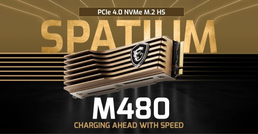 照片中提到了PCle 4.0 NVMe M.2 HS、SPATLIM、M480,跟微星國際有關,包含了樂器、樂器配件、商標、產品設計、牌