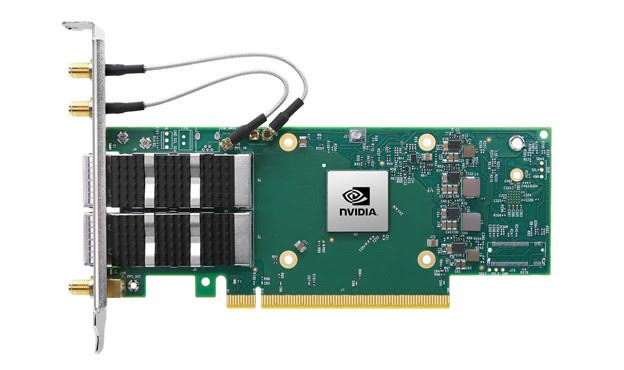 照片中提到了NVIDIA,跟英偉達有關,包含了英偉達connectx 6 dx、Mellanox ConnectX-6 Dx EN 100Gigabit 以太網卡、網絡接口控制器、計算機網絡