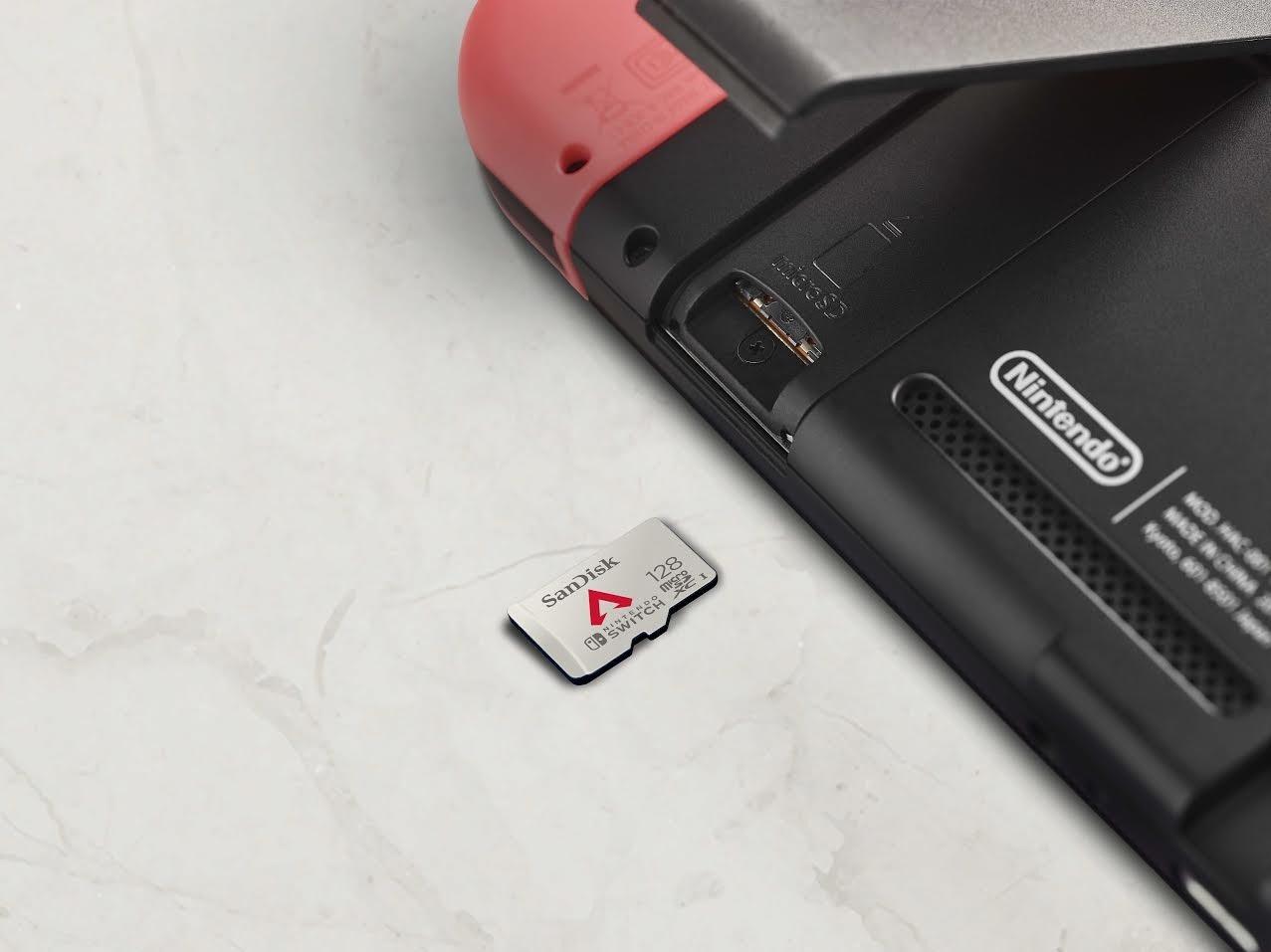 照片中提到了Nintendo、MOD NAE、WADE NOHNA,跟DigitAlb、Nintendo DS Lite有關,包含了SD卡、用於Nintendo Switch的SanDisk microSDXC卡、存儲卡、SD卡、微型SD
