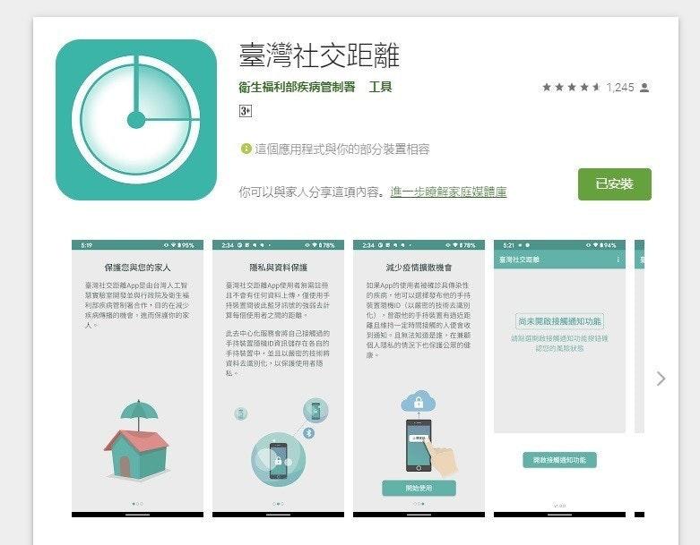 照片中提到了臺灣社交距離、衛生福利部疾病管制署 工具、***** 1,245 2,包含了圖、平面設計、產品設計、疾病預防與控制中心、商標