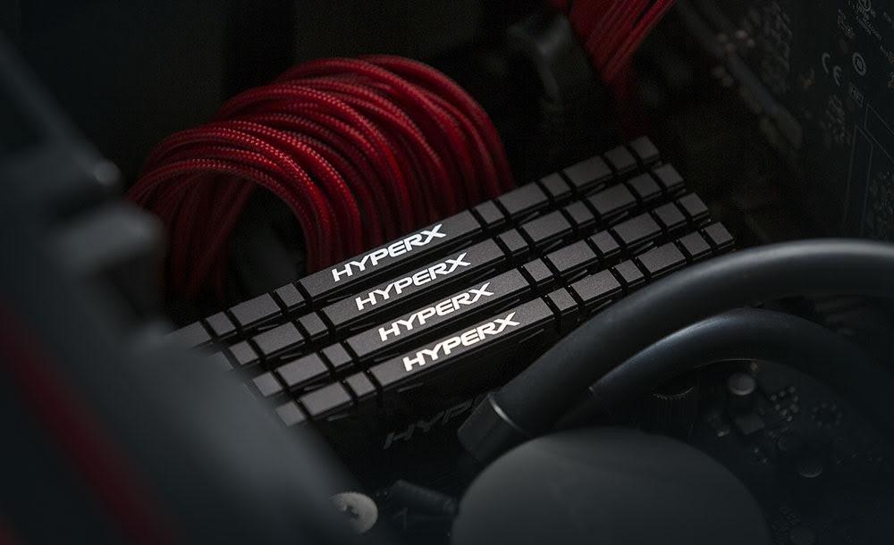 照片中提到了HYPERX、HYPERX、HYPERX,跟拉米、Bowflex有關,包含了DDR4 SDRAM、DDR4 SDRAM、金士頓科技、內存、超級