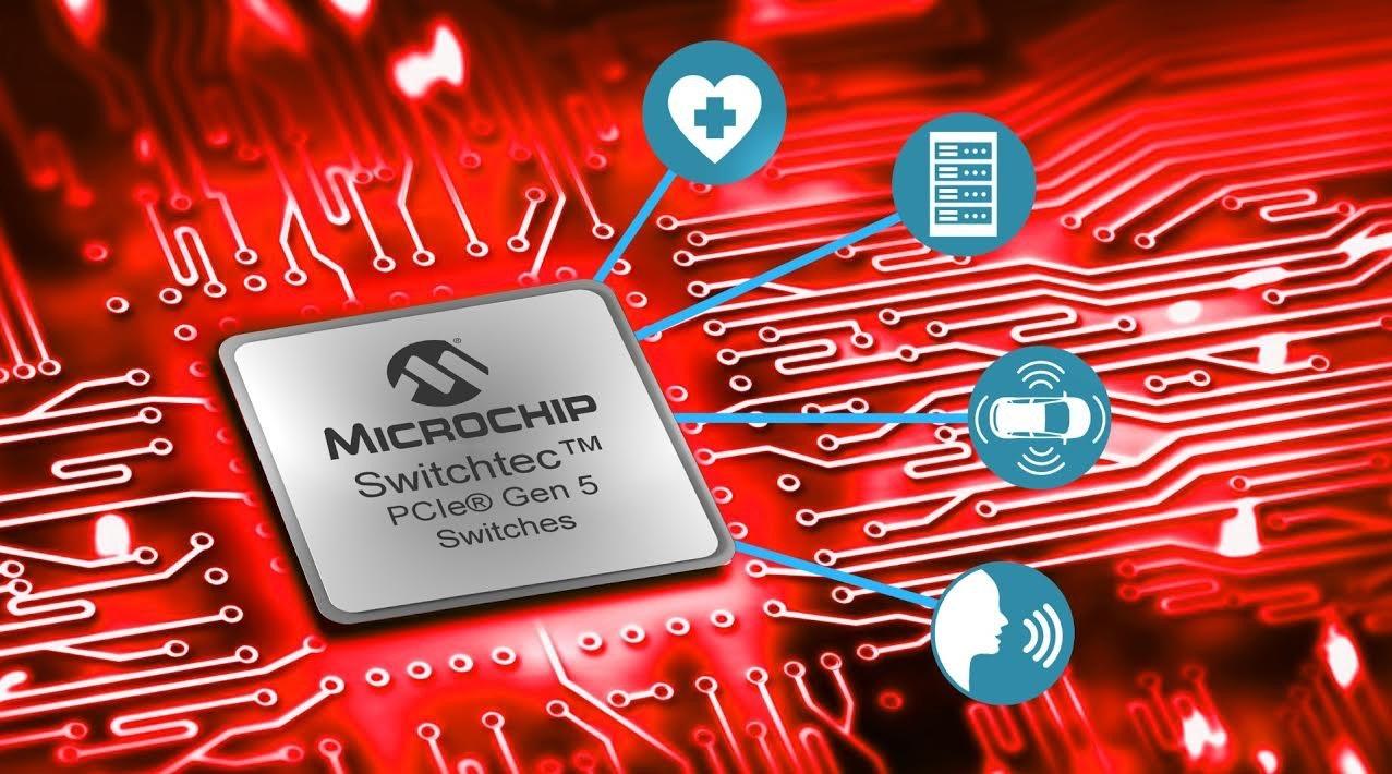 照片中提到了MICROCHIP、SwitchtecTM、PCle® Gen 5,跟微芯科技有關,包含了電腦牆紙、電腦、軟件、計算機輔助製造、電子產品