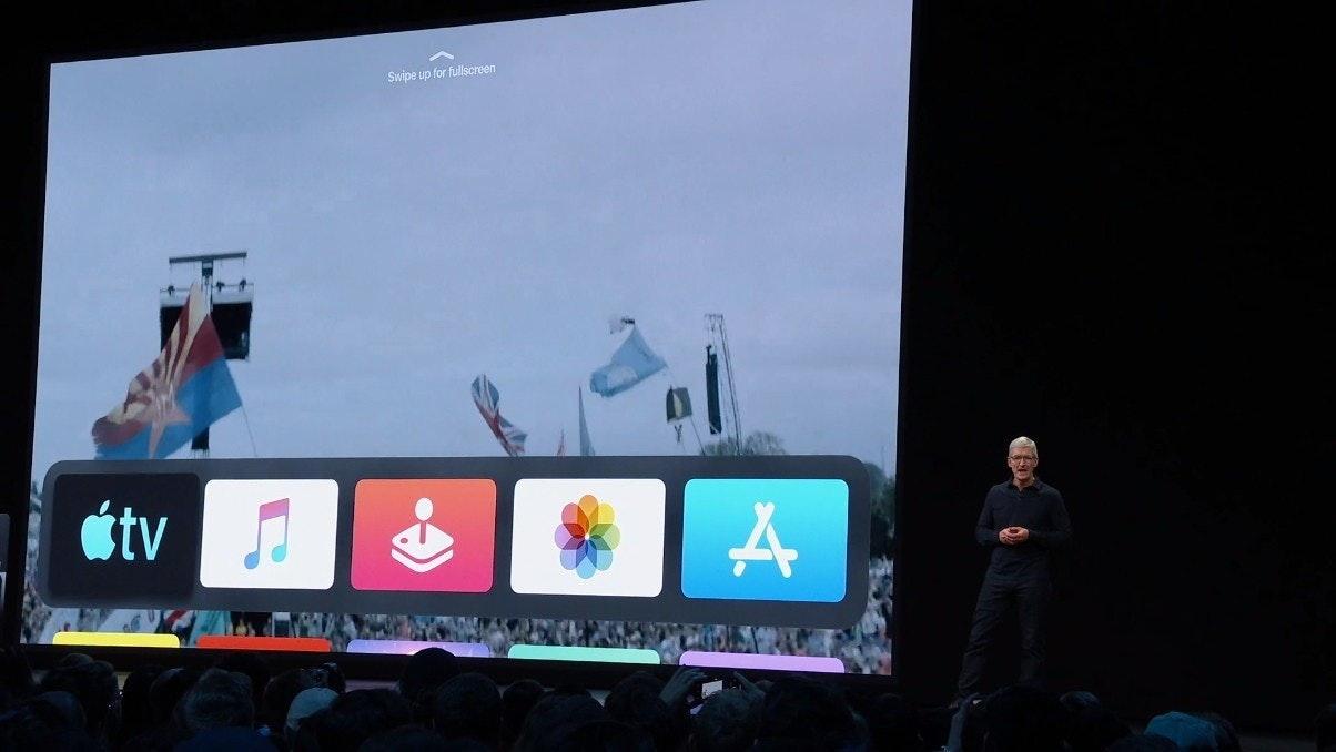 照片中提到了Swipe up for fullscreen、étv,跟蘋果電視、利德爾工作室有關,包含了顯示裝置、2019蘋果全球開發者大會、顯示裝置、Pro Display XDR、電腦