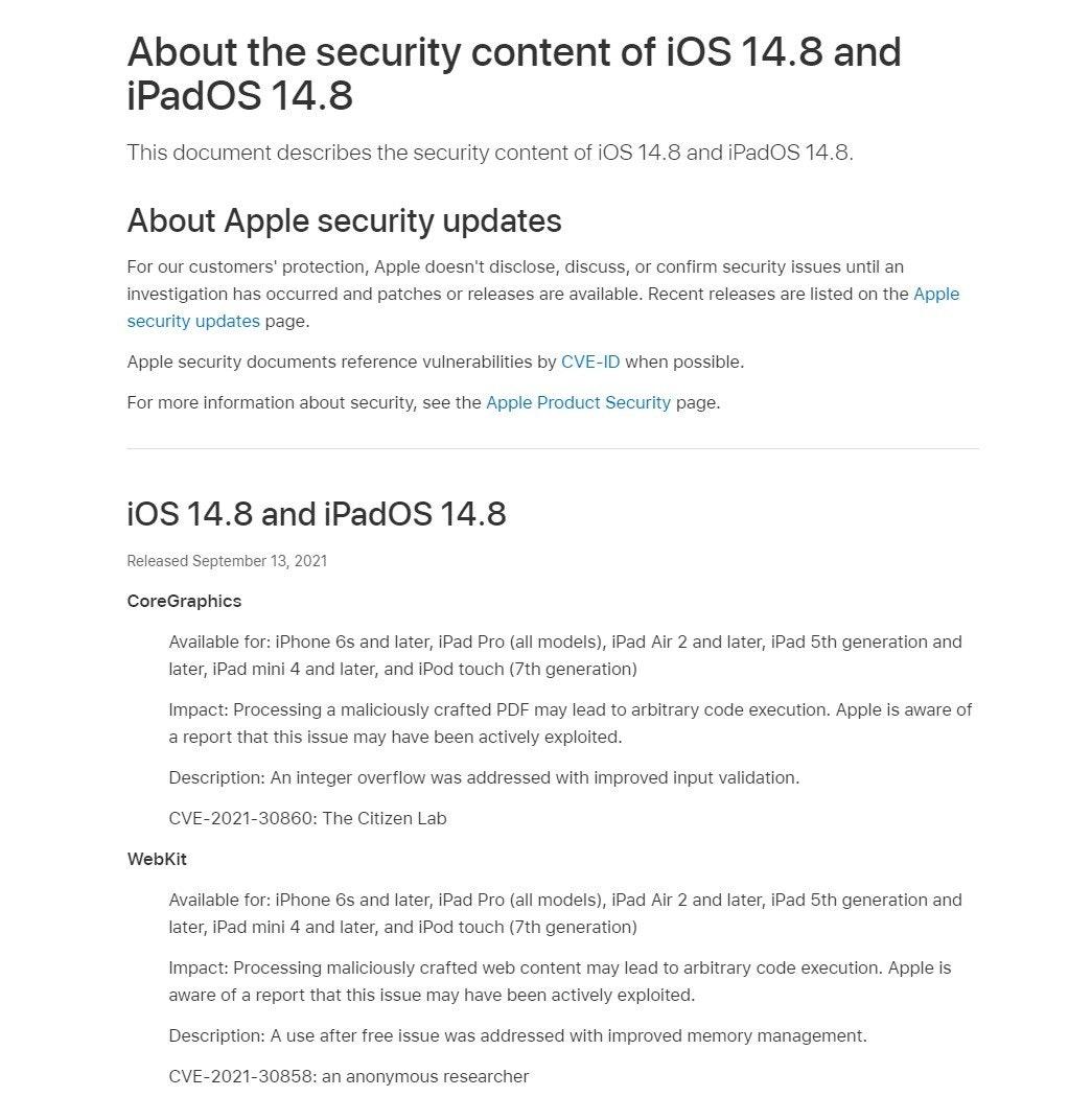 照片中提到了About the security content of iOS 14.8 and、iPadOS 14.8、This document describes the security content of iOS 14.8 and iPadOS 14.8.,包含了文獻、哈伊馬角、眼鏡蛇混凝土切割服務公司、文獻、紙