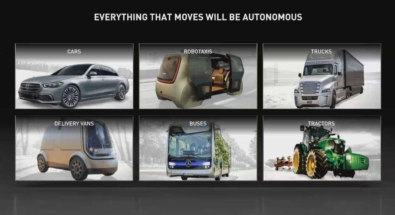 照片中提到了EVERYTHING THAT MOVES WILL BE AUTONOMOUS、CARS、ROBOTAXIS,包含了商用車、緊湊型車、商用車、汽車設計、汽車