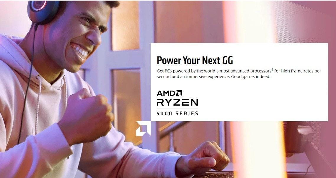 照片中提到了Power Your Next GG、Get PCs powered by the world's most advanced processors' for high frame rates per、second and an immersive experience. Good game, indeed.,包含了通訊、公共關係、牌、產品、媒體市場