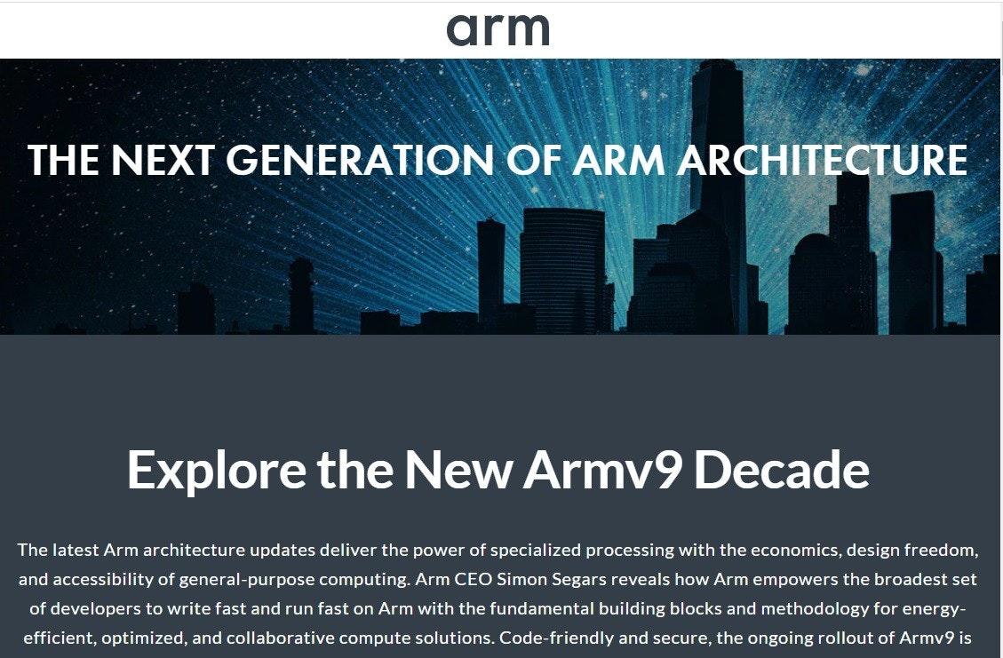 照片中提到了arm、THE NEXT GENERATION OF ARM ARCHITECTURE、Explore the New Armv9 Decade,跟武器控股有關,包含了建築公司、牌、介紹、字形、儀表
