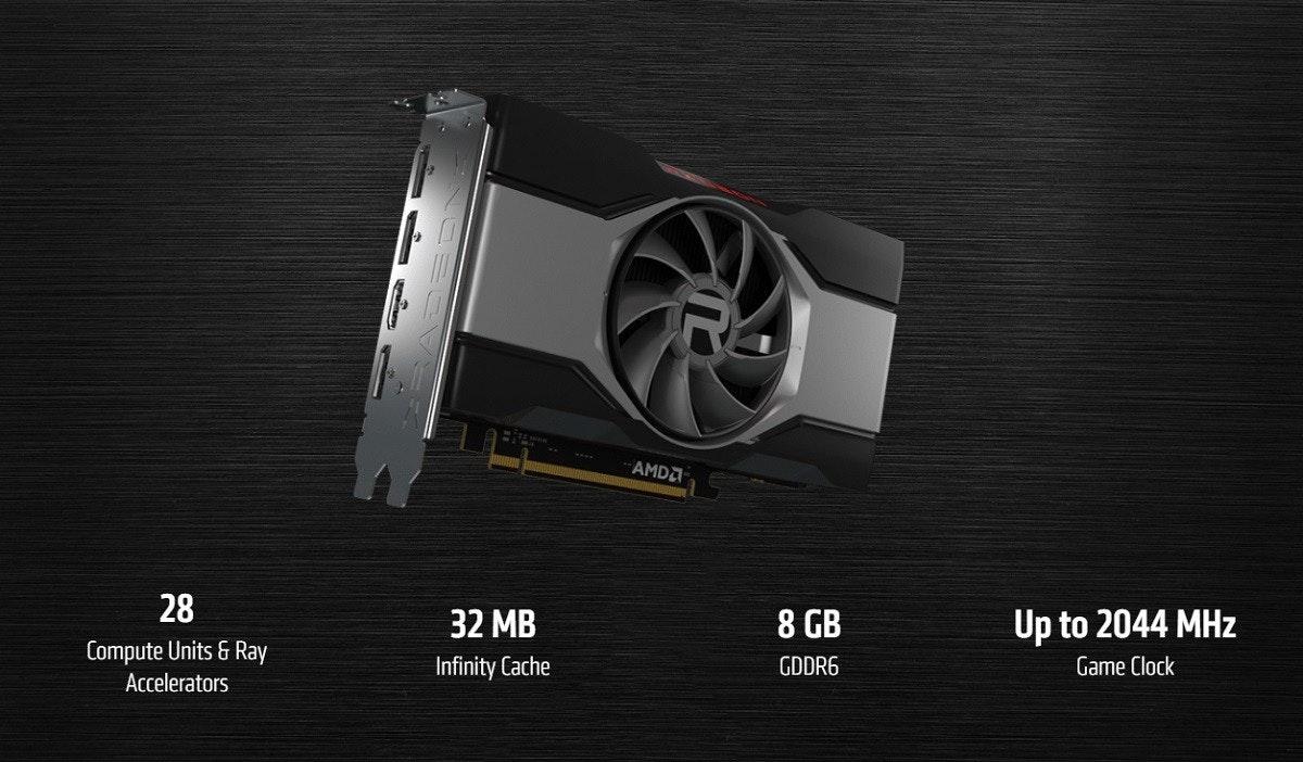 照片中提到了AMDA、28、32 MB,包含了AMD radeon™ RX 6600 xt、PowerColor Fighter Radeon RX 6600 XT、AMD公司、Advanced Micro Devices公司、8 GB
