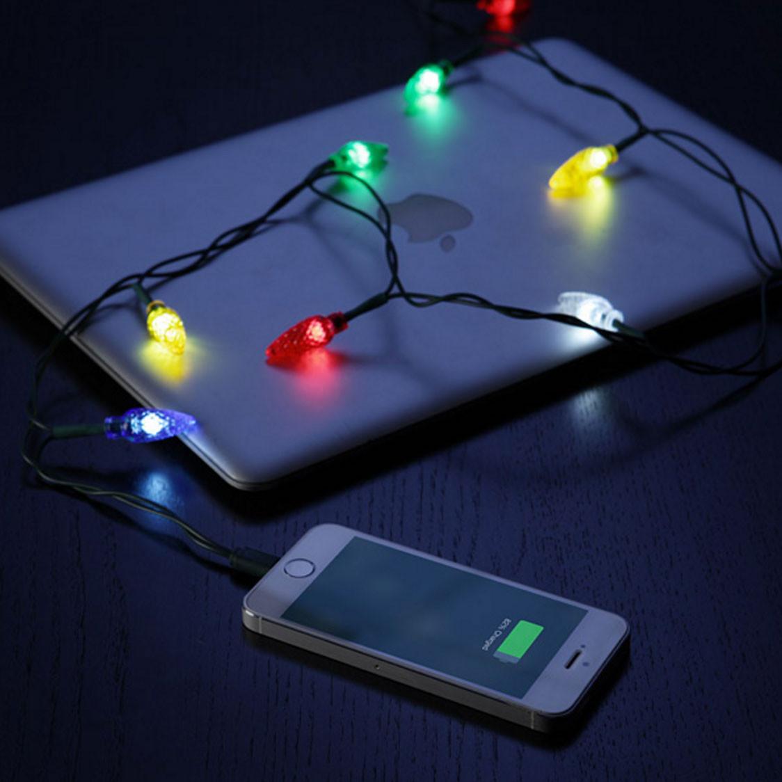 是超級有聖誕節氣氛的聖誕燈飾充電線!這篇文章的首圖