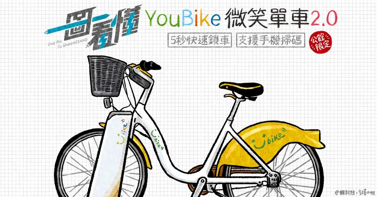照片中提到了E恒、YouBike 微笑單車2.0、ONE Pic,包含了公路自行車、自行車車架、自行車輪、自行車座墊、公路自行車