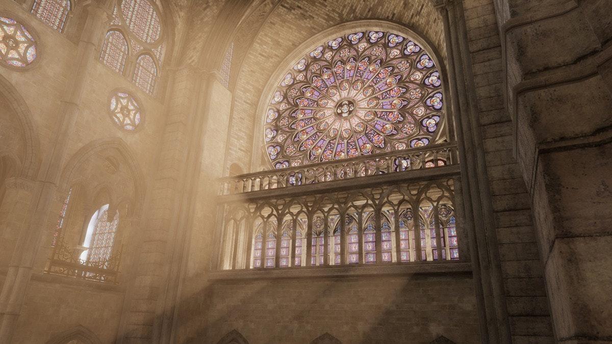 照片中包含了大教堂、巴黎圣母院大教堂、刺客信條:統一、育碧、虛擬現實