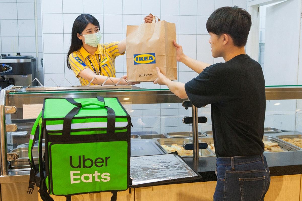 照片中提到了IKEA、IKEA.com、Uber,跟宜家、優步吃有關,包含了表、huang莊區、送外賣、新店區