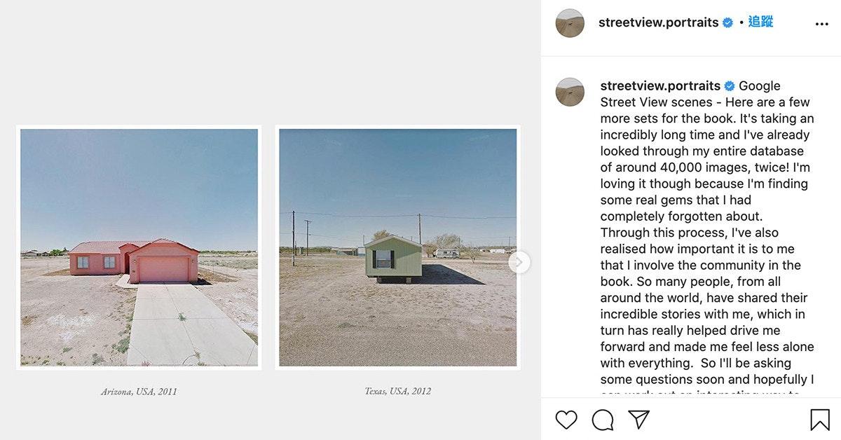 照片中提到了streetview.portraits • E、streetview.portraits Google、Street View scenes - Here are a few,包含了角度、產品設計、牌、儀表、字形