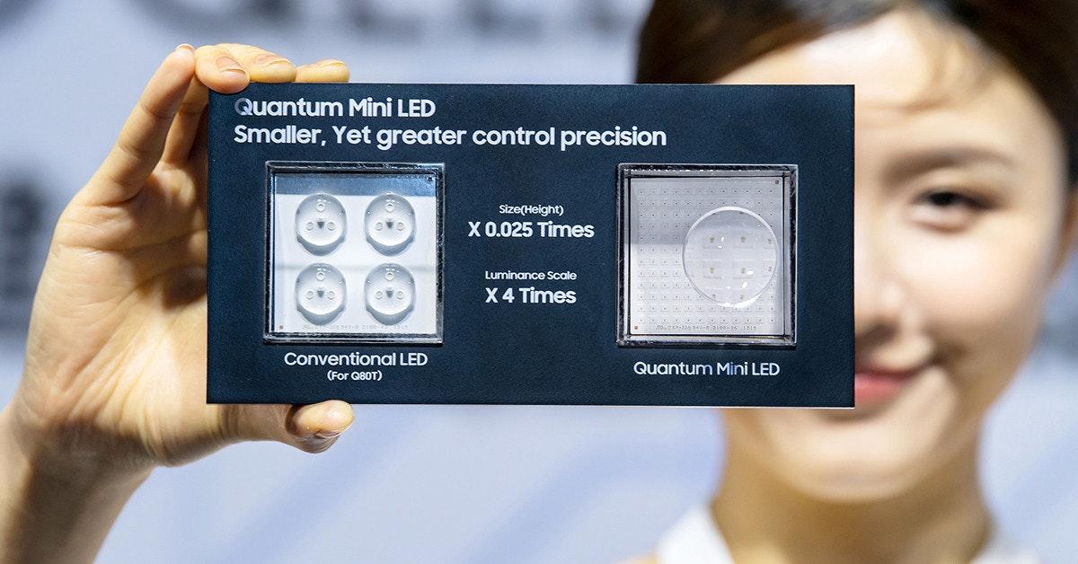 照片中提到了Quantum Mini LED、Smaller, Yet greater control precision、Size(Height),包含了多媒體、產品、多媒體、服務
