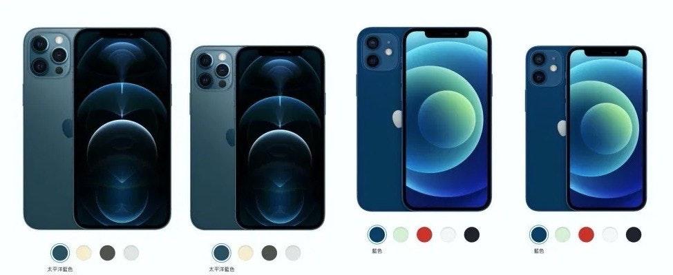 照片中提到了藍色、太平洋藍色、太平洋藍色,包含了電子產品、蘋果、蘋果iPhone SE、iPhone 12、iPhone XR