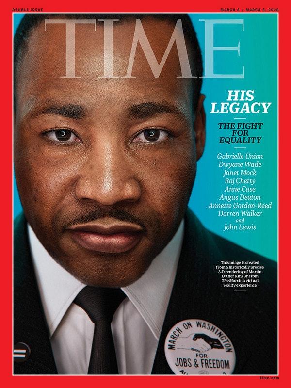 照片中提到了DOUBLE ISSUE、MARCH 2/ MARCH 9. 2020、TIME,包含了遊行於華盛頓1963、遊行在華盛頓求職與自由、馬丁路德金。、我有一個夢想、1963年