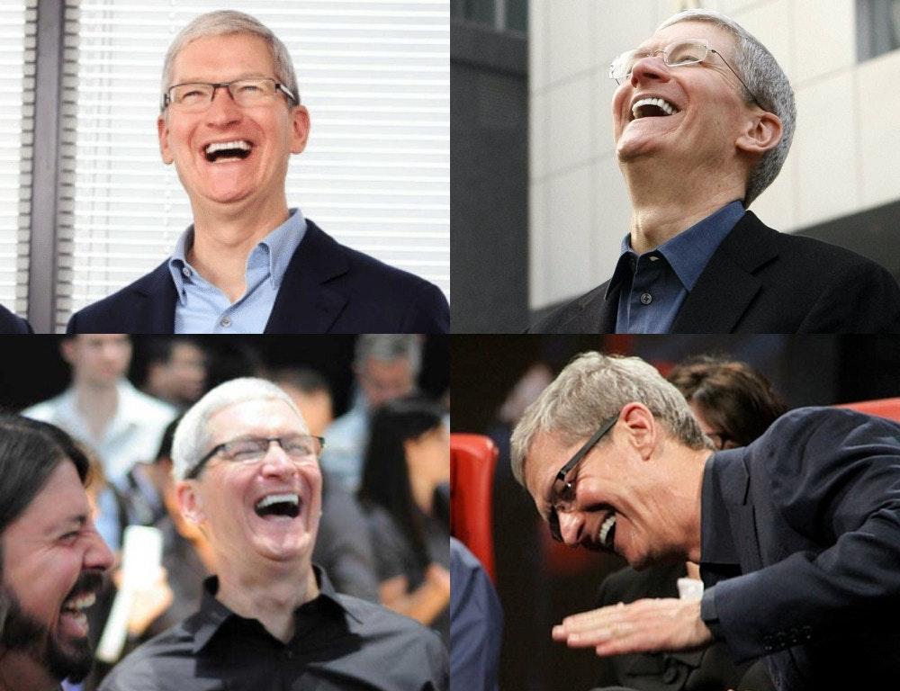 照片中包含了笑聲、蒂姆·庫克、蘋果全球開發者大會、移動電話、公共關係