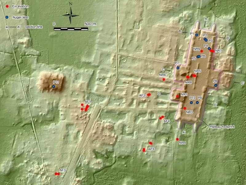 照片中提到了Excavation、O Auger test、500 m,包含了地圖、塔巴斯科、美國、喬治·弗洛伊德之死、塔巴斯科州旅遊