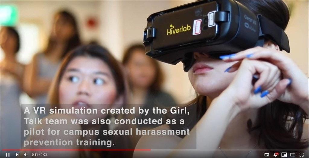 照片中提到了Geare、A Hiverlab、A VR simulation created by the Girl,,包含了女孩、虛擬現實、性騷擾、女孩談話、騷擾