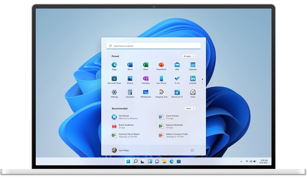 照片中提到了P Type here to search、Pinned、All apps>,包含了微軟視窗11、窗口 11、微軟公司、微軟Windows、啟動