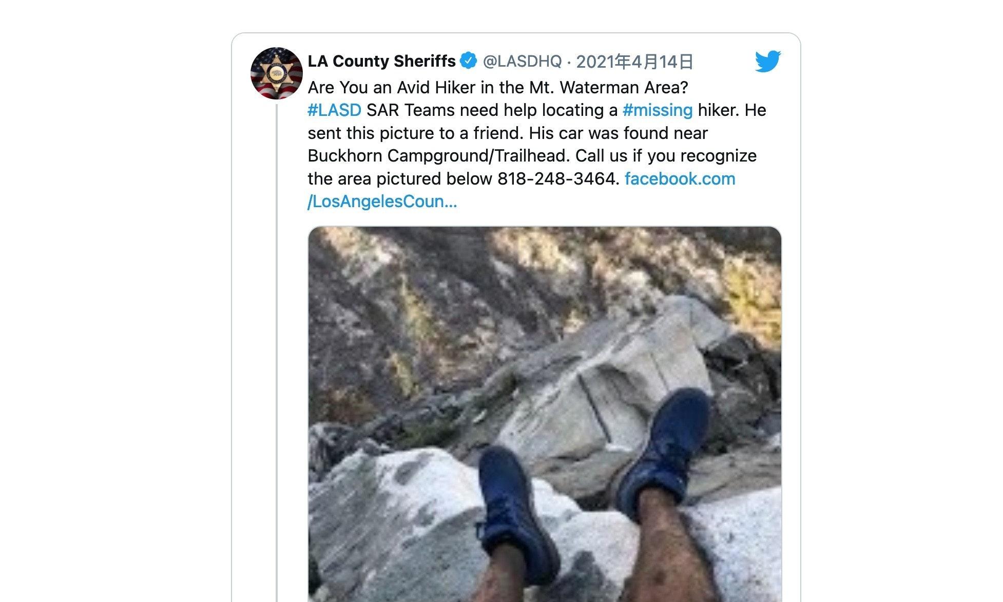 照片中提到了LA County Sheriffs、@LASDHQ · 2021#414A、Are You an Avid Hiker in the Mt. Waterman Area?,包含了失踪的徒步旅行者、沃特曼山滑雪纜車、健行、聖蓋博山脈、開拓者