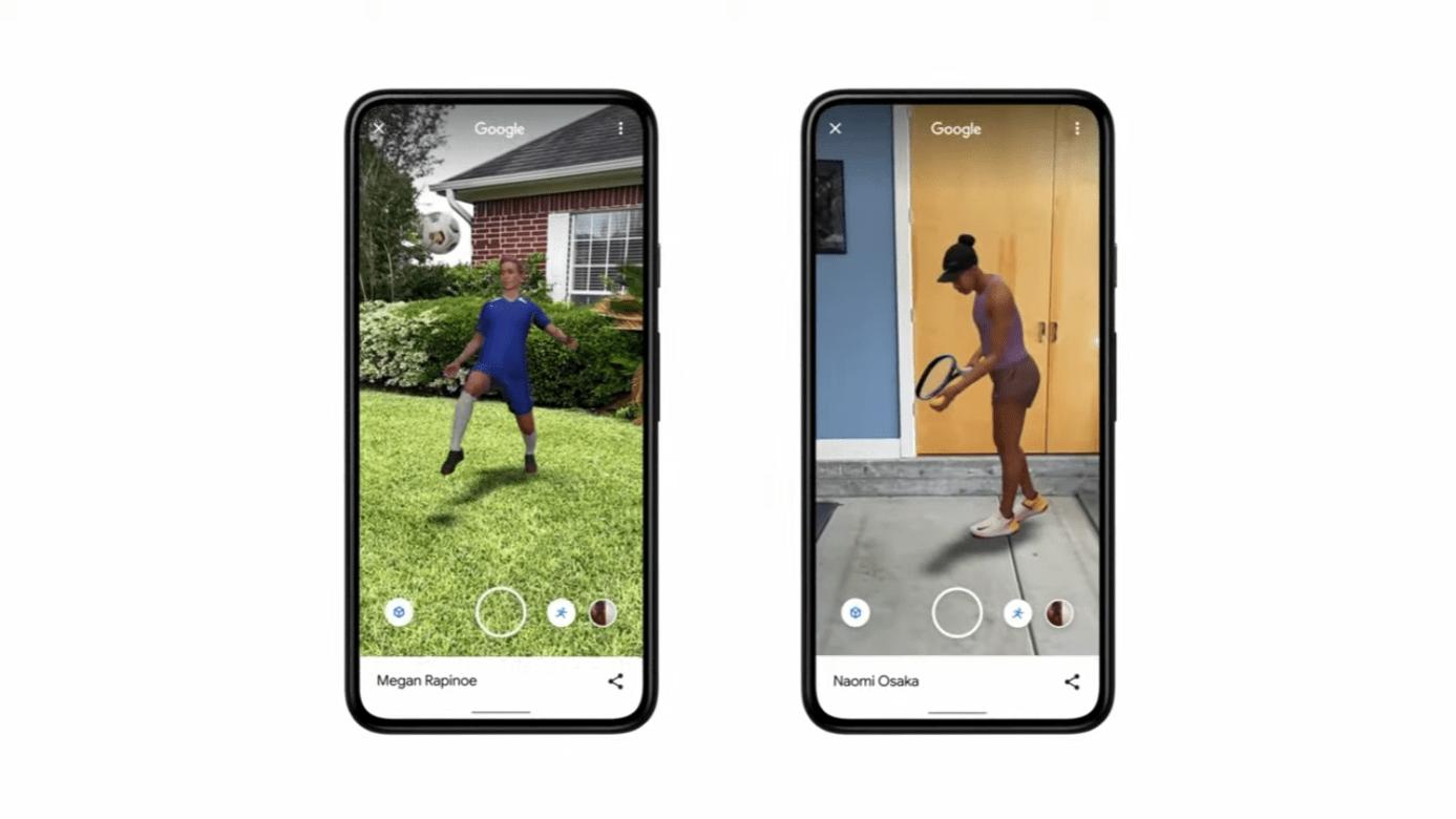 照片中提到了Google、Google、Megan Rapinoe,包含了手機、移動電話、手機、蜂窩網絡、電話