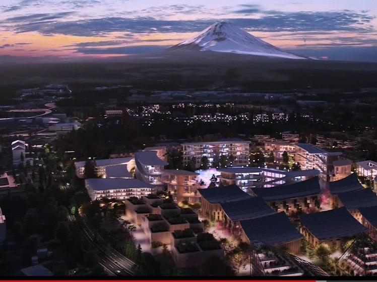 照片中包含了城市風光、豐田汽車、富士山、市、梭織市