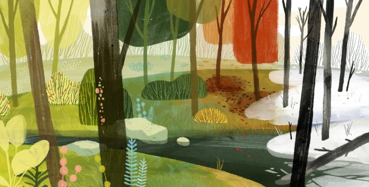 Illustration, Illustrator, Art, Season, , Solar term, Creative work, Design, Game, Designer, 四季 之 森 桌 遊, Green, Painting, Natural environment, Modern art, Art, Visual arts, Tree, Organism, Leaf, Illustration