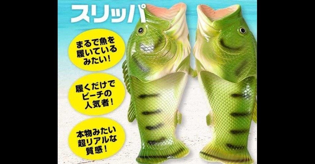 Slipper, Black basses, Flip-flops, Sandal, Shoe, Bass, , , Amazon.com, Fish, スリッパ バス 魚, green, fauna, organism, font, reptile