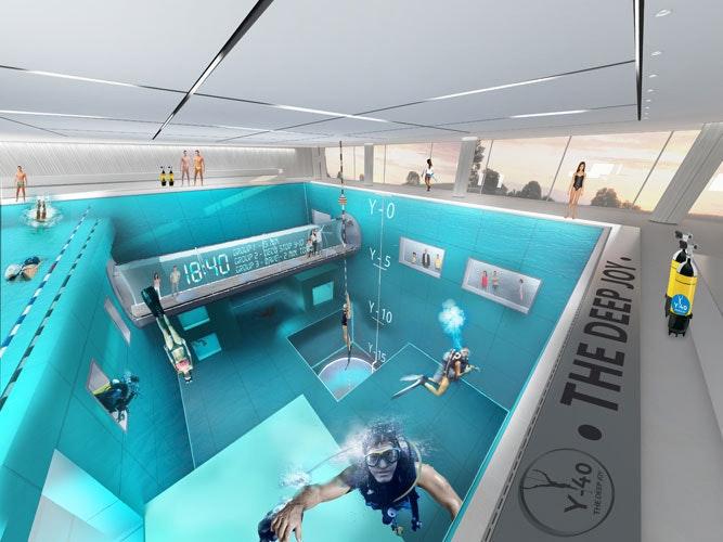 是世界No.1游泳池「Y-40」 約十層樓這麼深這篇文章的首圖