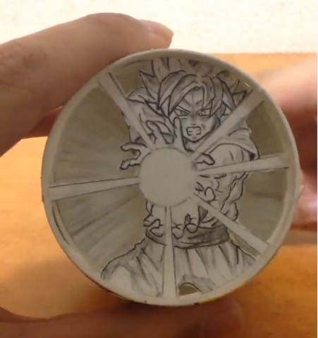 Paper, Frieza, Goku, Paper cup, Dragon Ball, Manga, Comics, Drawing, Beaker, Cup, 紙 コップ アート ドラゴンボール, carving, circle, ceramic