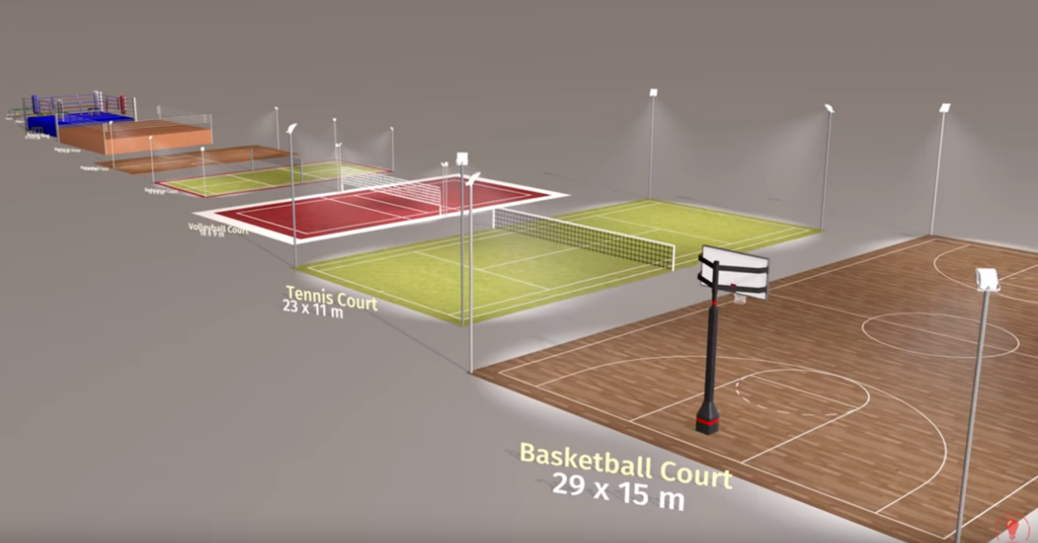 照片中提到了Voleyal Coure、Tennis Court、23x 11 m,包含了運動場館、運動場館、吉恩體育航空中心、產品設計、角度