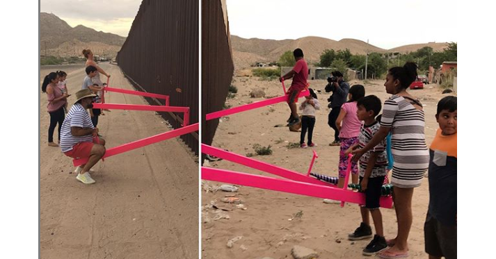 , Mexico–United States border, Mexico–United States barrier, McAllen, See Saws, President of the United States, Architect, Border, United States, Child, Mexico–United States barrier, Pink, Fun, Play, Recreation, Leisure, Playground, Tourism
