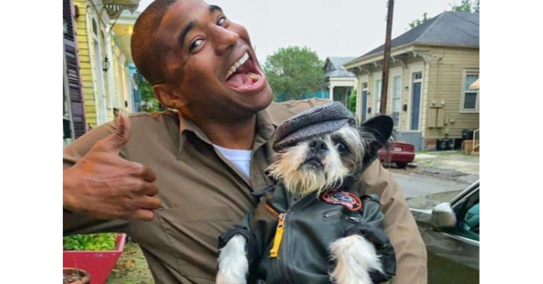 Dog breed, Dog, Package Delivery Man, , Snout, Breed, Photograph, United Parcel Service, Package delivery, JPEG, dog, Dog, Dog breed, Canidae, Companion dog, Snout, Photography, Human, Selfie, Carnivore, Smile