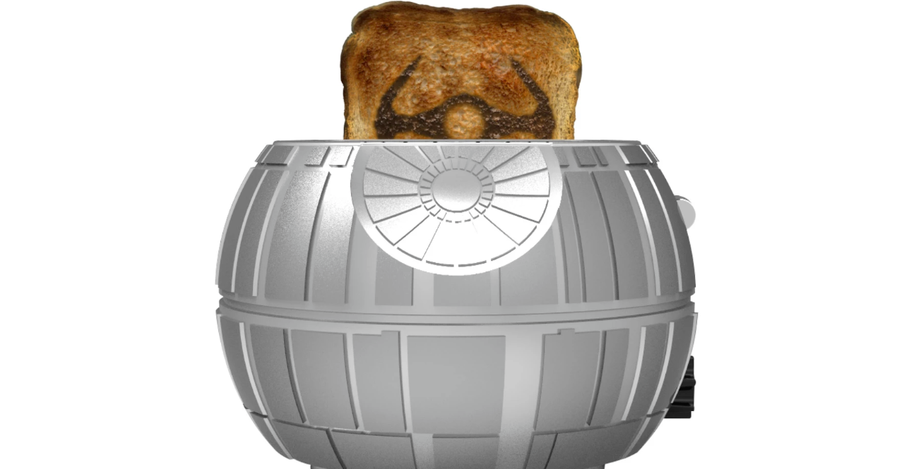照片中包含了星球大戰死亡明星烤麵包機、達斯·維達(Darth Vader)、死亡之星、丘巴卡、R2-D2