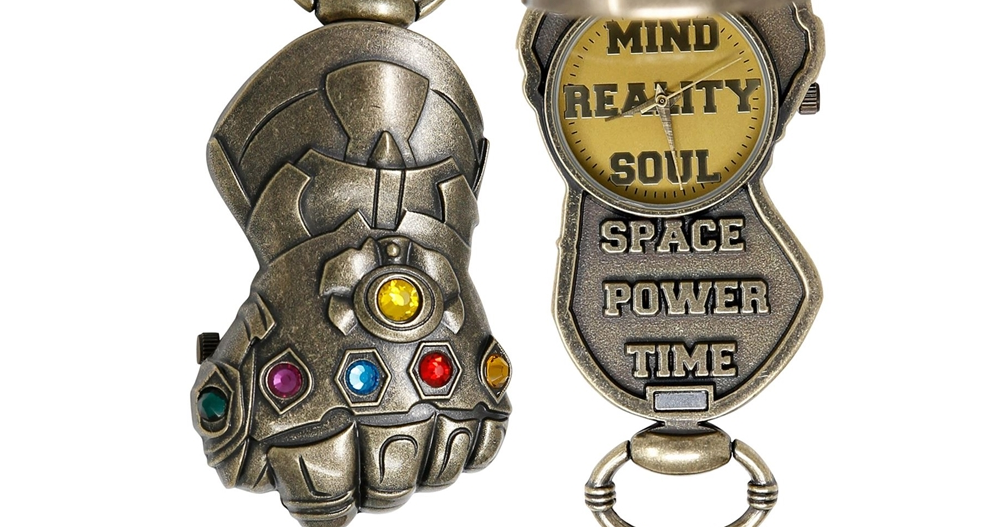 Thanos, Spider-Man, The Infinity Gauntlet, Captain America, Infinity Gems, , Thor, Marvel Cinematic Universe, Watch, Superhero, , Fashion accessory, Keychain, Badge, Metal