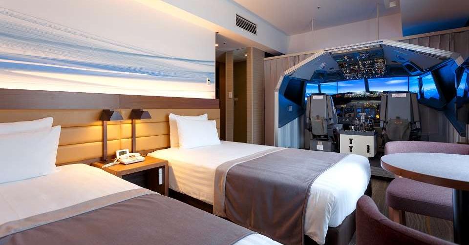 Haneda Excel Hotel Tokyu, Flight, Hotel, Airplane, Room, , Suite, Flight simulator, Travel, Simulation, Haneda Excel Hotel Tokyu, Room, Bed, Bedroom, Furniture, Property, Suite, Building, Interior design, Bed sheet, Mattress