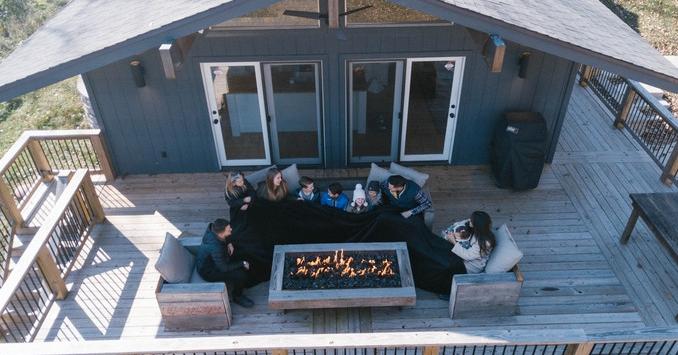 Blanket, , Cottage, Family, , Coupon, Product, Duvet, , , cottage, Home, Property, House, Cottage, Building, Log cabin, Room, Porch, Patio, Backyard